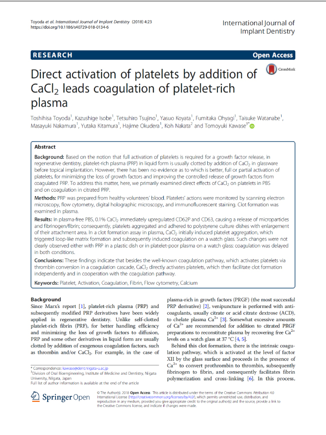 Direct activation of platelets by addition of CaCl 2 leads coagulation of platelet-rich plasma